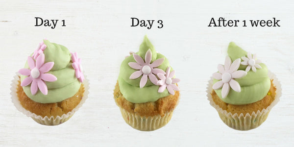 Pink fondant fades quickly! Day 1 vs. Day 3 vs. one week later shows the pink fondant gradually changing to white