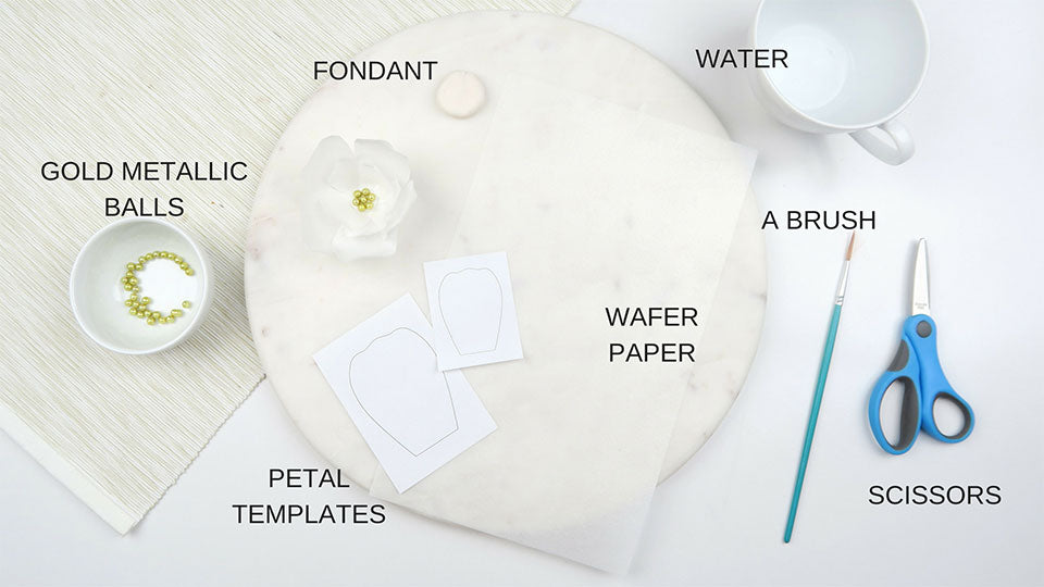 Items you'll need to make paper wafer flowers