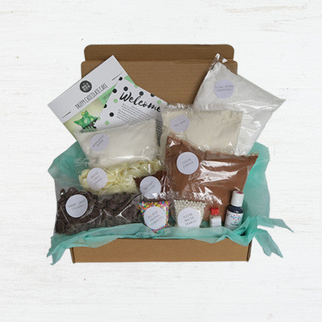 The Bake It Box Drip cake baking kit contains everything you need, minus wet ingredients to make the perfect drip cake
