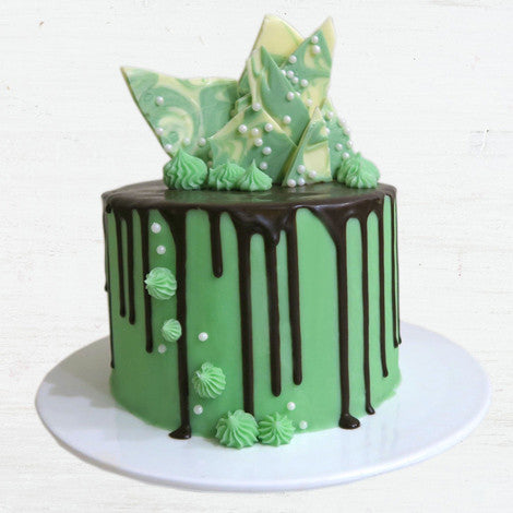 Bake It Box Green Chocolate Drip Cake with a dark chocolate ganache drip