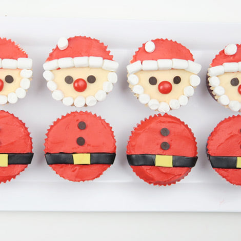 Red Velvet Cheesecake Santa Cupcakes
