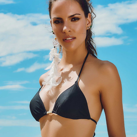 Maryssil - Black Brazilian Bikini Triangle Top, Swimwear, [product_colour]  - ALVESIA