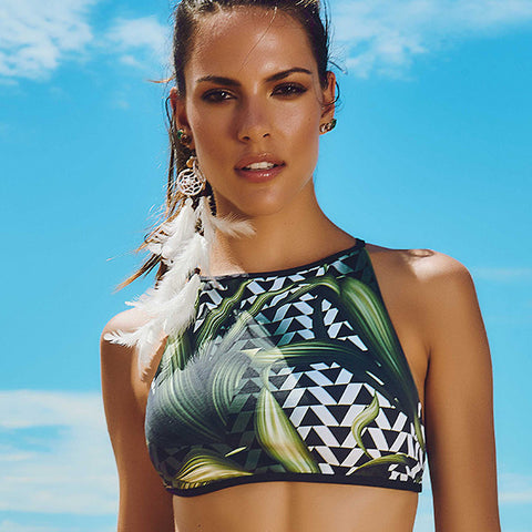 Maryssil - Lush Print Cropped Top, Swimwear, [product_colour]  - ALVESIA