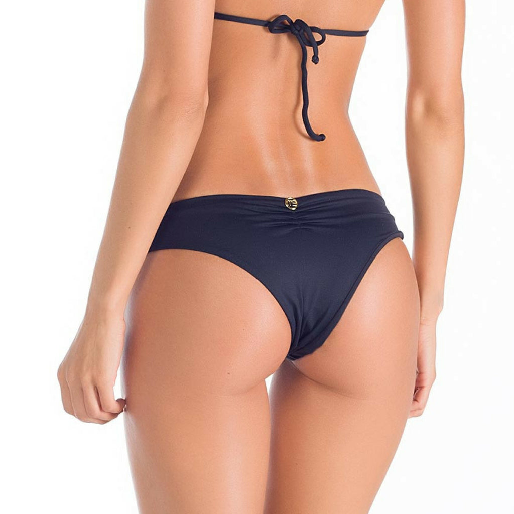 Gathered Front Brazilian Black Bikini Bottom, Swimwear, [product_colour]  - ALVESIA