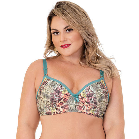 Brazilian Fauna and Flora Print Plus-Size Bra - 2Rios, Bra, [product_colour]  - ALVESIA