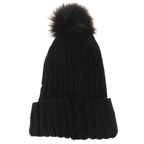 Solid Knit Stripe Beanie - Black