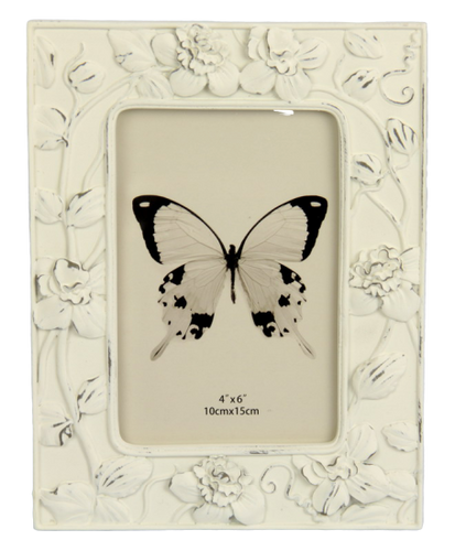 Trailing Flowers Photo Frame - White 4x6