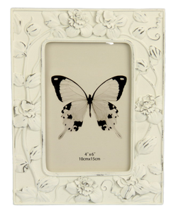 Trailing Flowers Photo Frame - White 4x6""