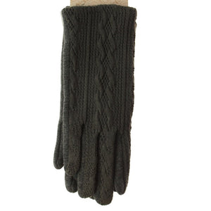Patterned Knit Gloves - Grey