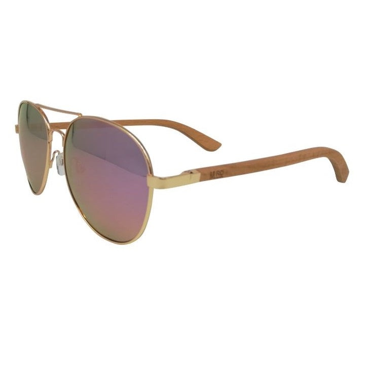 Aviator Sunglasses with Pink Reflective Lens