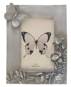 Champagne Butterfly & Flower Photo Frame