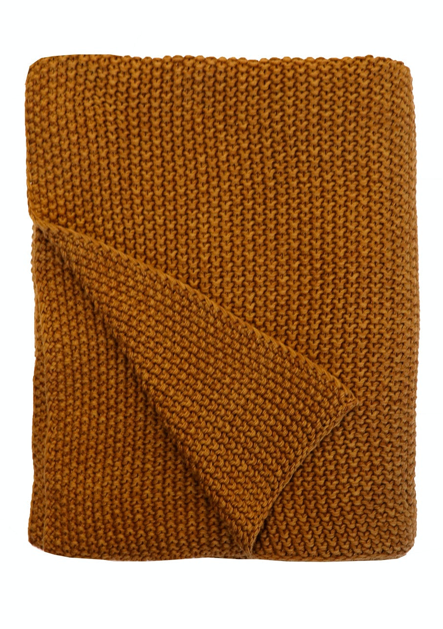 Milford Moss Stitch Throw - Saddle