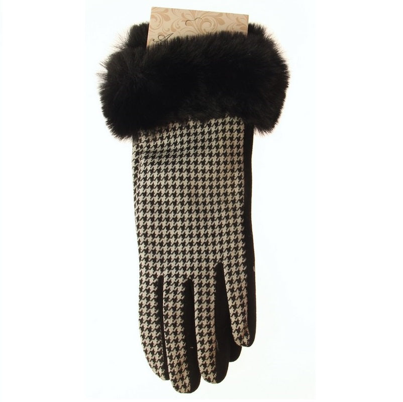Houndstooth & Fur Cuff Glove
