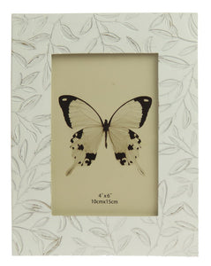 Etched Small Leaves Photo Frame - White