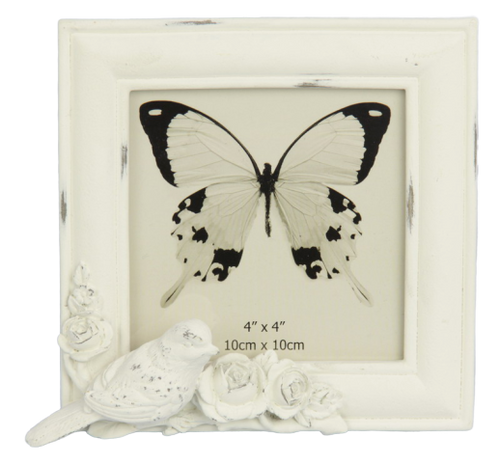 Bird & Roses Photo Frame - White