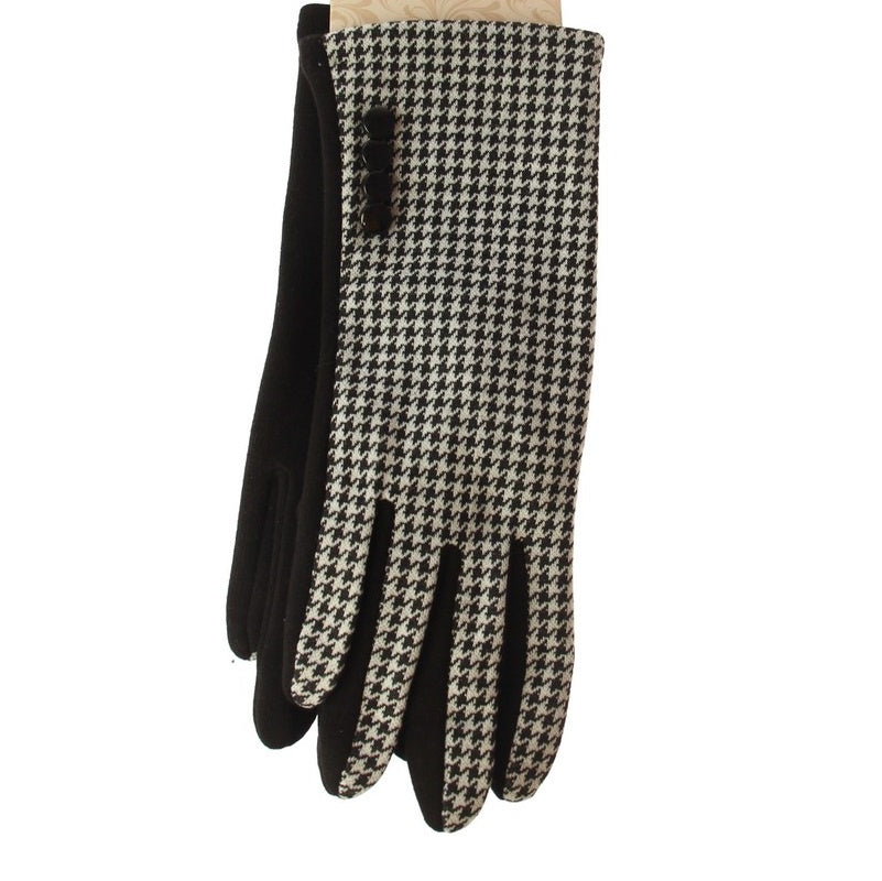 Houndstooth Button Gloves