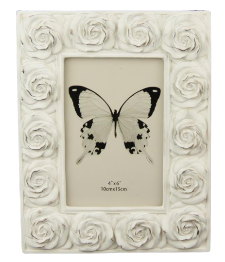 White Roses Photo Frame 4x6