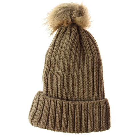 Solid Knit Stripe Beanie - Taupe