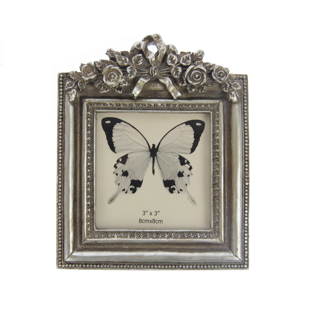 Flowers & Bow Photo Frame - Champagne
