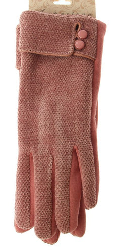 Chenille Gloves - Pink