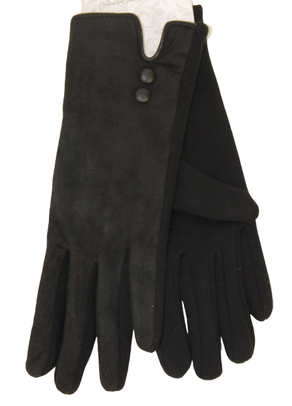 Half Suede Gloves - Black