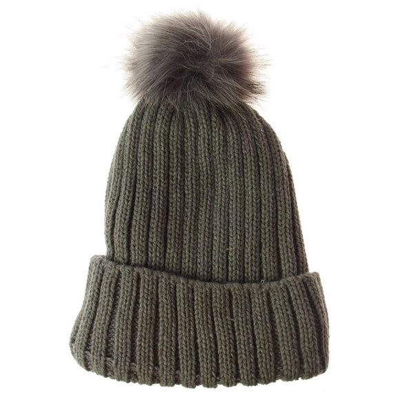 Solid Knit Stripe Beanie - Grey
