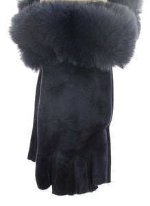 Fingerless Velvet & Faux Fur Gloves - Navy
