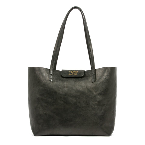Large black leather tote bag by Maasai Colour