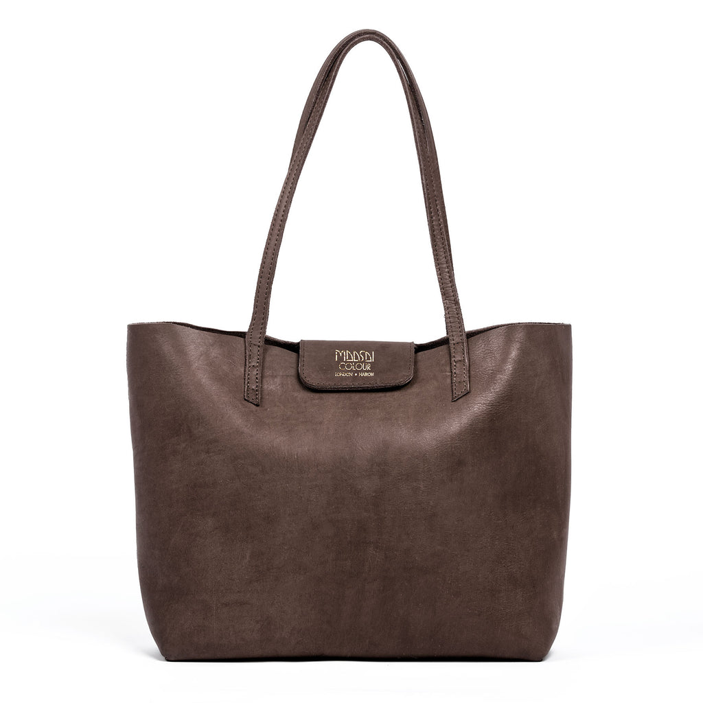 Large brown leather tote bag by Maasai Colour