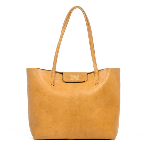 Large tan leather tote bag by Maasai Colour