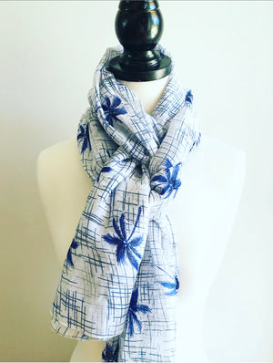 Tropical Palms Scarf - Blue