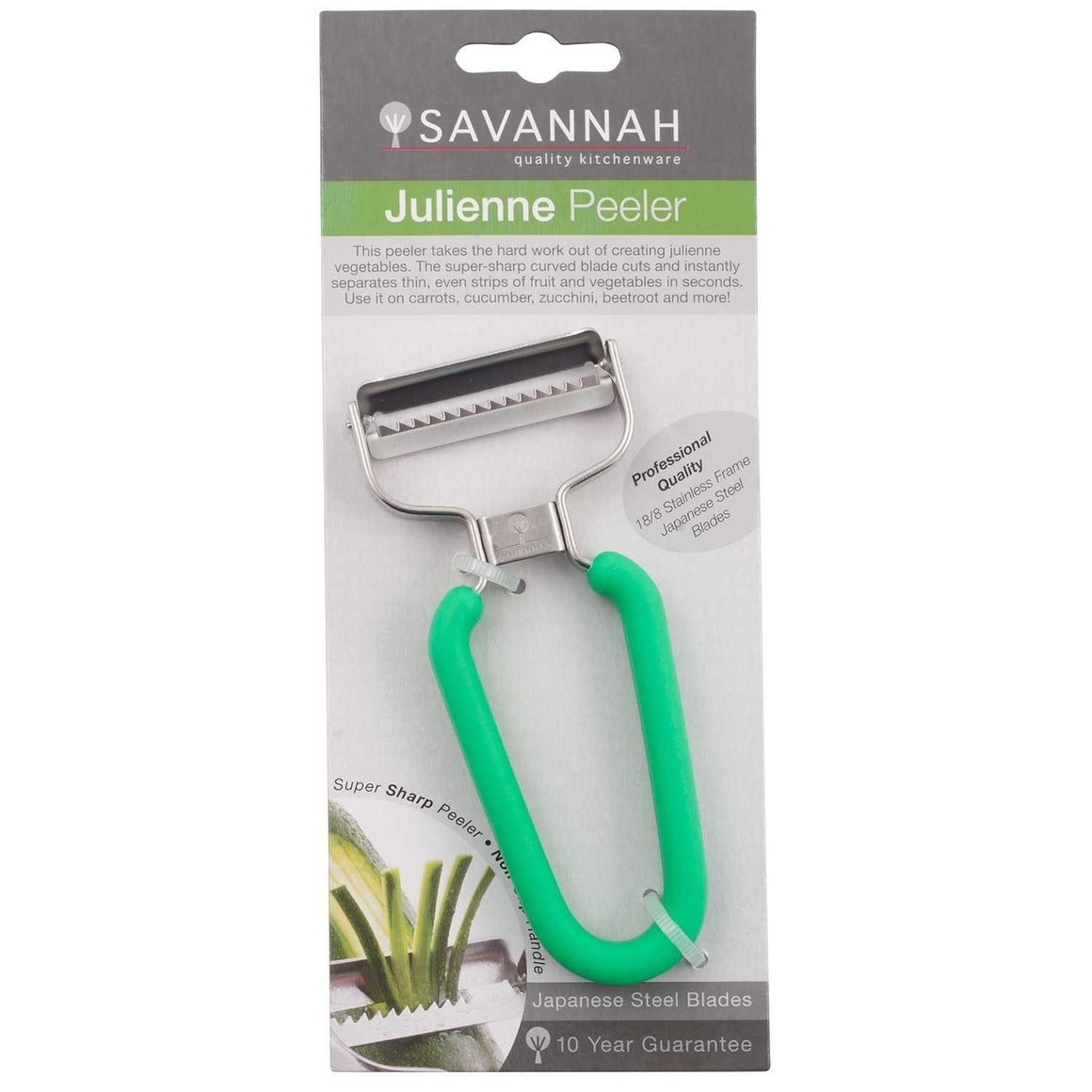 Savannah Y-Shaped Julienne Peeler Green - stuff-n-things