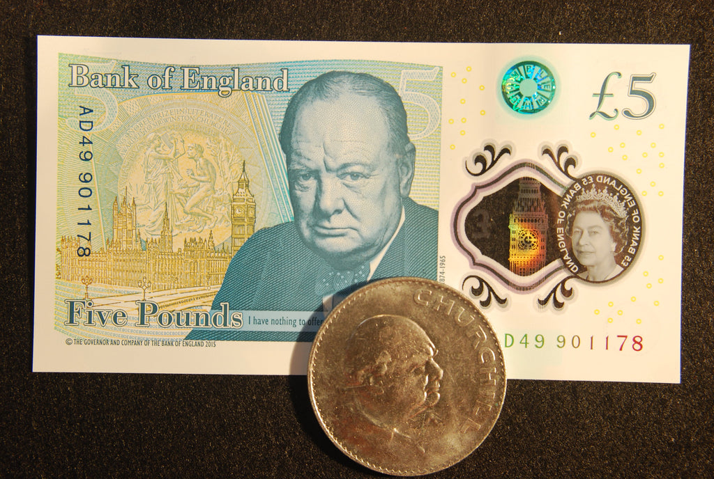 Winston Churchill on the new £5 note.