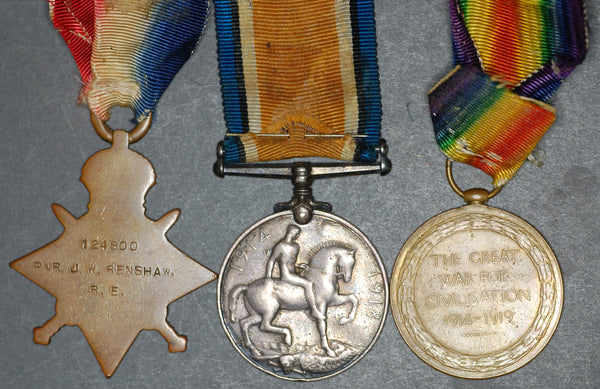 WW1. 1914-15 star Trio. Renshaw. R.E.