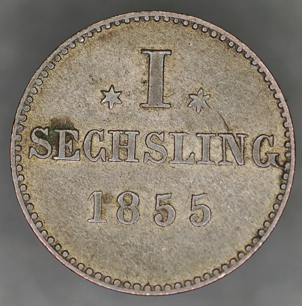 Germany. Hamburg. 1 Sechsling. 1855