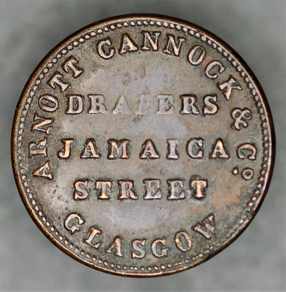Farthing token 19th century - Arnott Cannock drapers - Glasgow