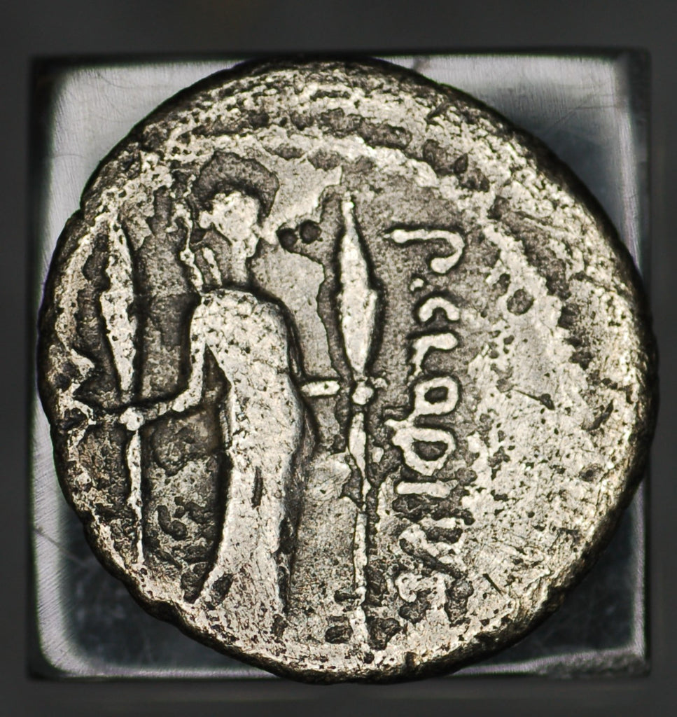 P. CLODIUS M.F. TURRINUS. AR, Denarius. 42 BC. Rome mint. Diana with torches.
