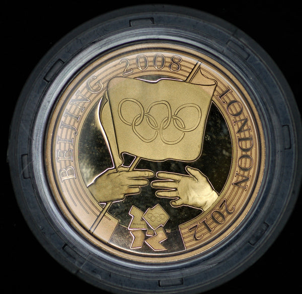 Elizabeth II. Proof gold £2. Olympic handover version.