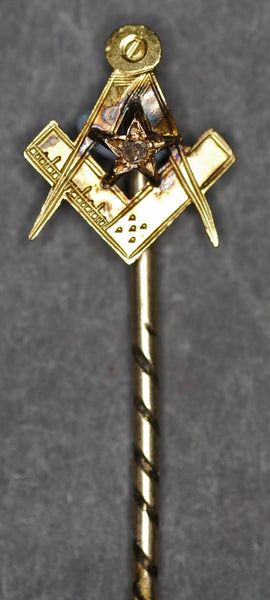 Diamond set masonic gold stick/tie pin