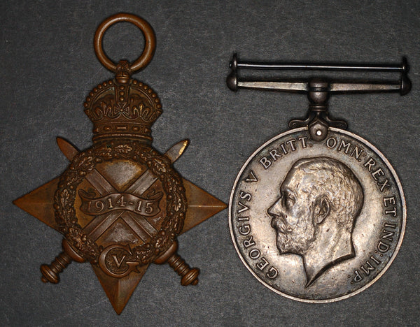 WW1. 1914-15 star & BWM. Ottley. Essex regiment.