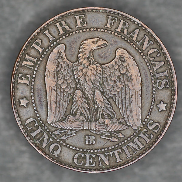 France. 5 centimes. 1854