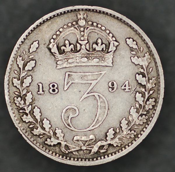 Victoria. (old head) Threepence. 1894.