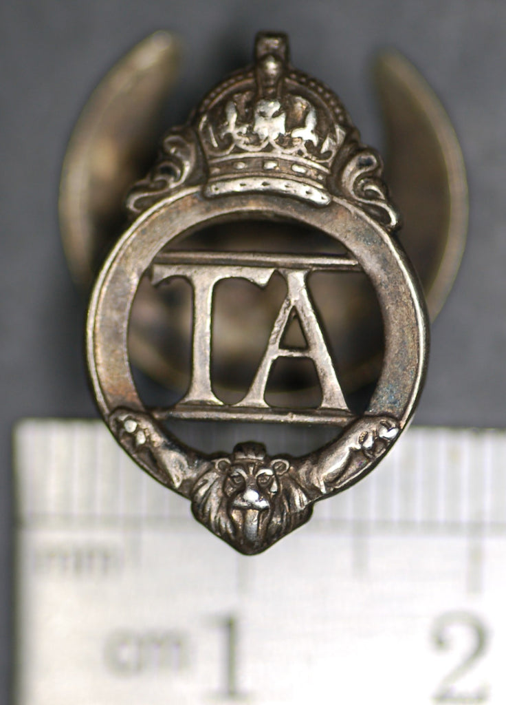 WW2 Silver TA Lapel badge, numbered.