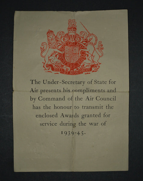WW2 medal transmittal slip. Air council.