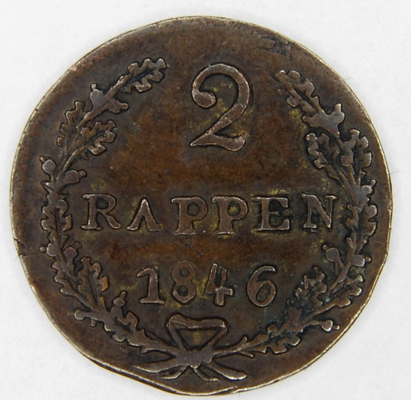 Switzerland. Schwyz. 2 Rappen. 1846.
