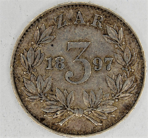 South Africa. Three pence. 1897.