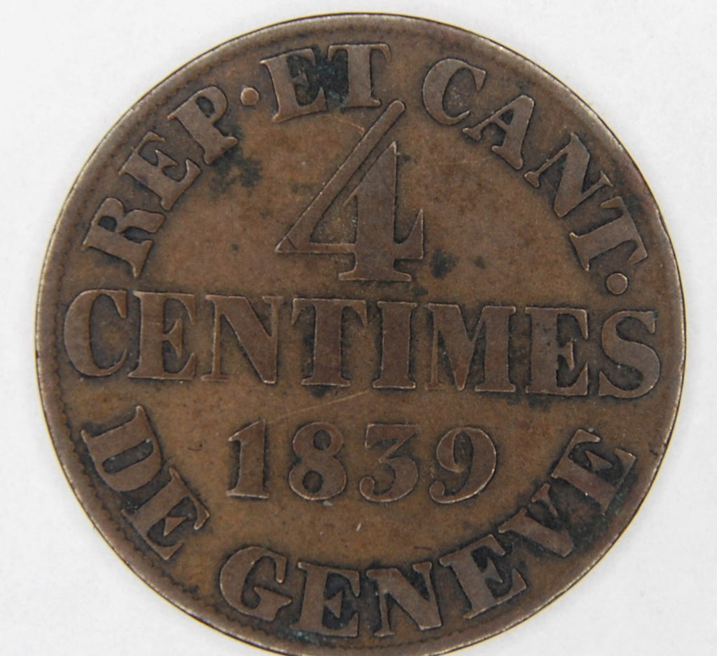 Switzerland. Geneva. 4 Centimes. 1839.