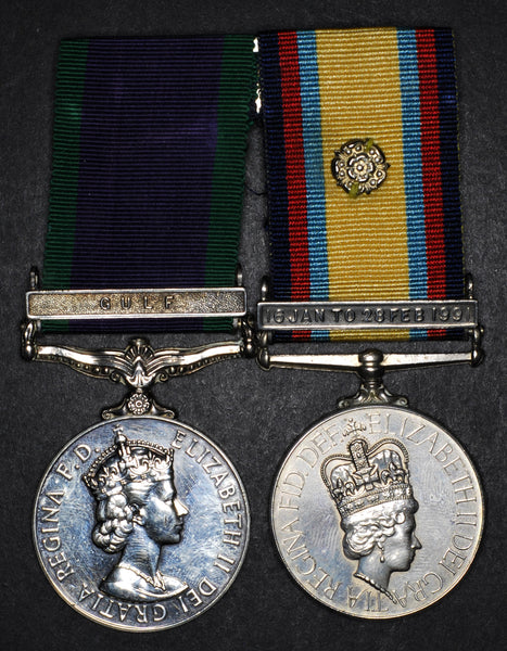 GSM (Gulf clasp) & Gulf medal 1990-91. Royal Navy/Fleet Air Arm