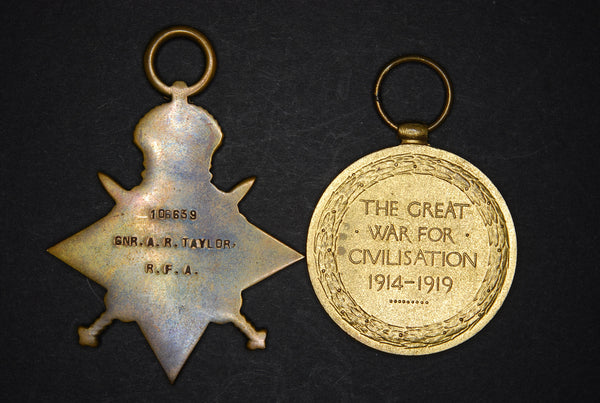 WW1. 1915 star and victory medal. RFA