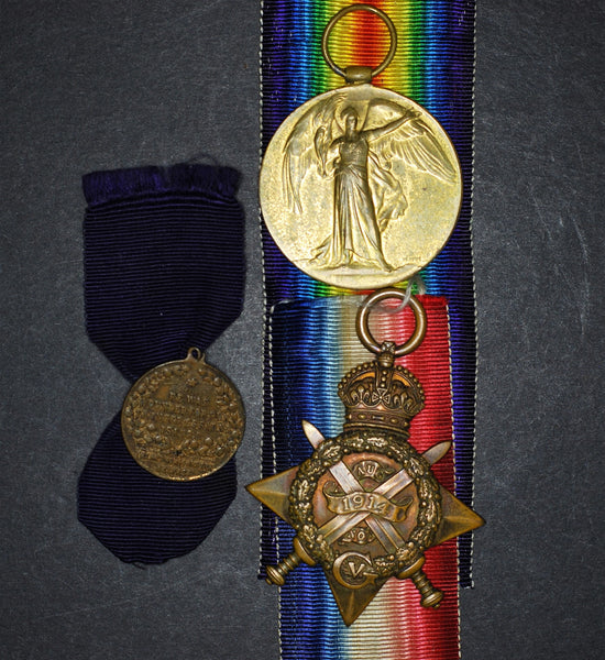 WW1 1914 star, Victory medal and death plaque. West Yorkshire Regiment